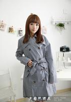 2014 new free shipping fashion black plaid raincoat 100% waterproof trench raincoat with belt  Nature003