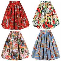 2014 50s Rockabilly Retro Hepburn Western Cowgirl Horse Printed Pleated Midi Skirt