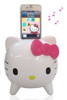 Cartoon hello kitty music sound card mini wireless portable speaker free shipping