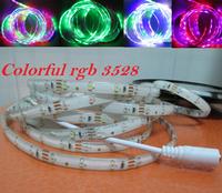free shipping 5m 12v colorful rgb strip 3528 Waterproof auto Running led strip 3528 smd 300leds 60 led/m rgb Stage light strip