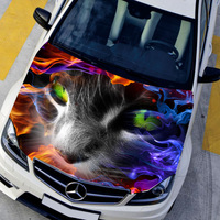 DIY Car styling HD inkjet In Flames Terror Specter Cat Hood stickers Waterproof hood  Protective film Animal decals 135*150cm