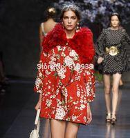 Luxury 2014 new runway winter women fashion cherry print outerwear coat brand beading buttons jacquard patterns a line coats
