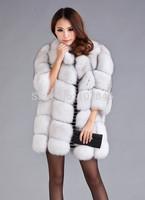 2014 Luxury Lady Fashion Genuine Natural Fox Fur Coat Jacket Winter Women's Fur Trench Outerwear Coats VK1471