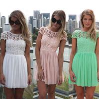 2014 New women Chiffon lace dresses party dresses vestido de festa