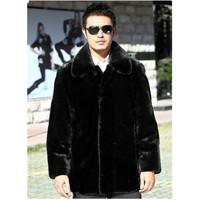 faux fur. Men's clothing faux fox fur coat outerwear macrotrichia fashion thermal leather jacket