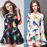 Multicolour ag6301 birds pattern one-piece dress