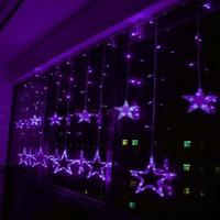 2X1m Purple LED String Curtain LIGHTS Holiday CHRISTMAS Background Decoration 168 Lamps 12 Stars 110V/220V EU/US/UK/AU