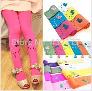 Free shipping new 2014 Baby girl child kids female pantyhose stocking velvet hello kitty cat dance legging 11 colors(China (Mainland))