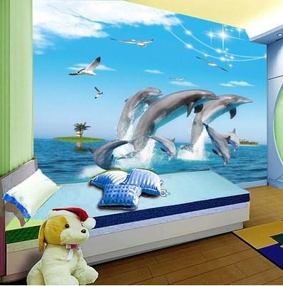 3d underwater world dolphin cartoon children s room bedroom wallpaper