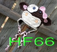 free shipping,60pcs/lot Cute Handmade crochet Baby girls cartoon dairy cow hat new Brown white Photo props 100% cotton