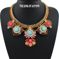 2014 Latest Fashion Brand Collar Necklace Chain Statement Necklace Thick Crystal Flower necklace pendant Women Jewelry