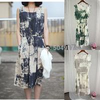 2014 Summer New Foreign trade Cotton Slim ink Thin sleeveless printing Plus size Waist dress Maxi long Dress