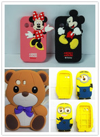 100pcs 3D Cute Minnion Minnie Mickey Stitch Soft Silicone Cellphone Mobile phone Case Back Cover For Samsung Galaxy Y S5360