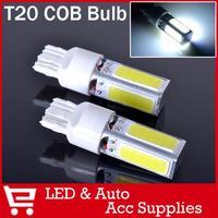 2x High Power LED T20 COB W21W 7443 Projector Turn Tail Signal DRL Light Bulbs Xenon White