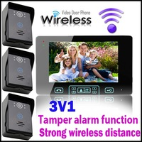 Tamper alarm function 7 Inch Take photos Wireless Video Door Phone 300m Range free area With Touch Key 3v1
