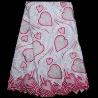 FREE SHIPPING! Guaranteed Quality! Swiss Voile Lace Fabric ,100% Cotton, Big heavy embroidery lace,heart shape design PL211-9