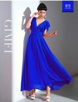 60229 real pictures with model gimfi elegant gentlewomen deep V-neck temptation one-piece dress three-color 380g