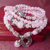 Min Order $15 Free Shipping Trend Jewelry Fashion Pink Multi layer Silver Angel Lovely Fox Bracelet  Females  Crystal Bracelet