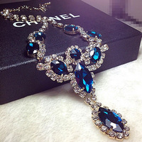 fashion luxurious gold plated spark rhinestone blue gem acrylic oval short necklace