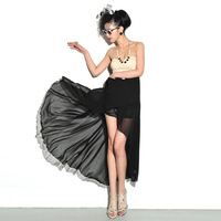 For ar 60162 real pictures with model flash bulbmagnesium color block decoration tube top irregular sweep dress 380g
