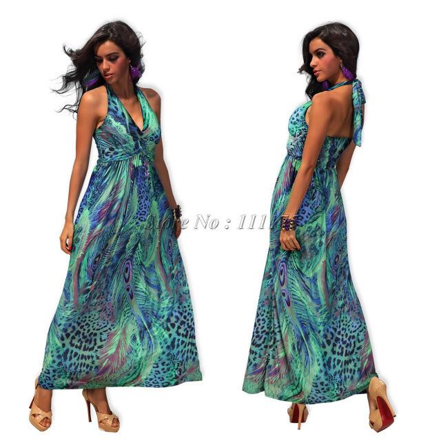 20624 Halter cintura limpar o vestido longo vestido colorido boêmio flor pav?o leite de seda vestido de praia(China (Mainland))