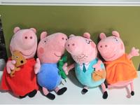 8pcs/lot large size 12inch cute Peppa pig Plush Doll george pig plush papa mom  kids toddler toys