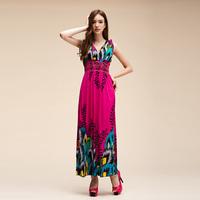Vestido De Festa Real Natural Worsted A-line Women Dress Women's Style Deep V-neck Vest Dress Totem Hot Sale New 2014 Summer