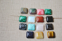 Wholesale New 2014 Hot Mixed Random Natural Stone Square Cabochons 16mm*16mm*6mm For Jewelry Decoration40pcs/lots Free Shipping