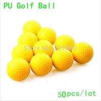 Free Shipping Hot High Quality 50pcs/lot Durable Sponge Golf Balls PU Foam Elasticity Training Golf Ball Yellow