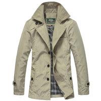 2014 jacket new men's casual long autumn jacket coat M L XL XXL