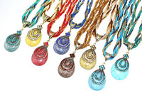 HX1068 free shipping Bohemia style antique beads jewelry fashion women's vintage pendant necklaces 17 colors available 12pcs/lot