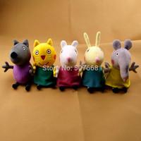 2 pcs New item 2014 peppa pig friends plush toys 5styles Animal Dog / cat / sheep / rabbit / elephant doll gift