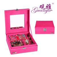 2014 women velvet jewelry box leisure ladies jewelry case wedding gift