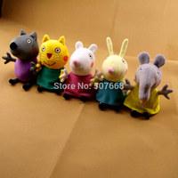 5pcs/lot  New item 2014 peppa pig friends plush toys 5styles Animal Dog / cat / sheep / rabbit / elephant doll gift