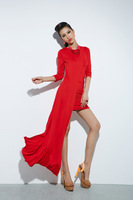 F60519 real pictures with model flash bulbmagnesium irregular sweep dress one-piece dress