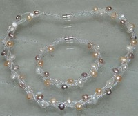 Genuine 3strds 6-7mm Nuggest freshwater pearl sets necklace & bracelet