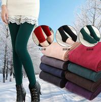 2014 Winter Women 24style Candy Color length Toe Velvet Leggings Thicken Pants Ankle Length Ladies Warm Leggings Trousers W00097