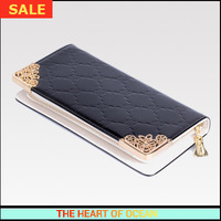 Fashion PU Leather Women Wallet Plaid Embossed Purse Patent leather Money Clip Sequined Card Holder Women Clutch B255