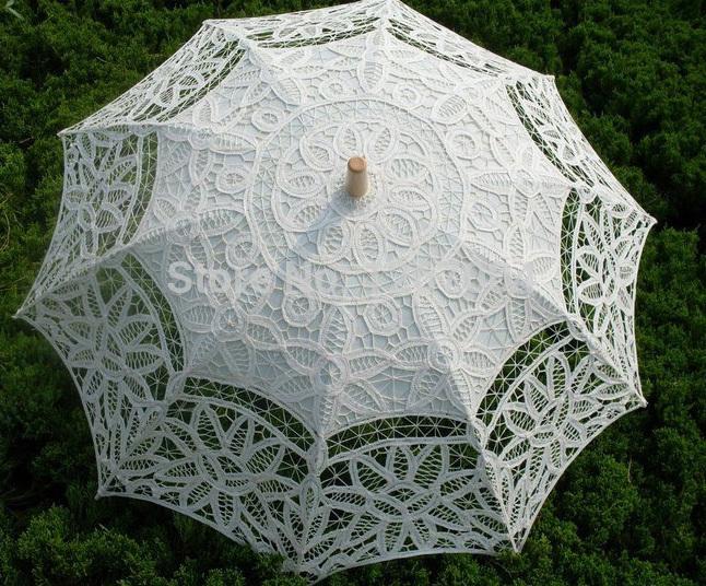 2 pcs Vintage Battenberg Parasol do laço guarda sol em multi-coloridas 100% algodão Handmade para o casamento(China (Mainland))