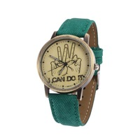 I CAN DO IT Pattern Women Casual Watch Leather Strap Japan Quartz Retro Clocks Dress Watches FFN012
