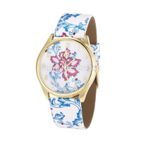 2014 New Fashion PU Flower Strap Women Dress Watches Quartz Women Rose Flower Watch Clocks