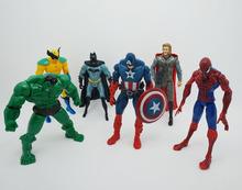 6 pcs/set Movie Action Figures The Avengers Hulk Batman Thor Iron Man Spiderman Captain America Toys Hulk Free Shipping(China (Mainland))