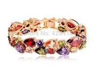 Bamoer High Quality Fashion 18K Rose Gold Plated Mona Lisa Zircon Bracelet for Women Multicolor CZ Stones Christmas Gift