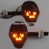 Black Motorcycle Skull LED Turn Signal Indicator Light Blinker Amber Light for Yamaha Suzuki Honda # 3513*2