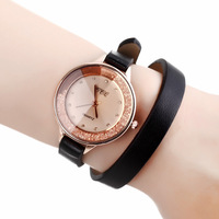 2014 New Fashion Women Dress Watches with Rhinestone Sharp Glass Long PU Leather Strap Watch for Lady
