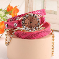 2014 New Fashion PU Leather Strap Wrap Watches Lady Clocks Golden Chain Women Dress Rhinestone Watch 28046