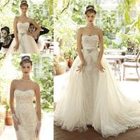 Fabulous Sheath Sweetheart Sexy Vestidos De Novia Luxury Crystals Beaded Wedding Dresses 2014 with Removable Skirt New Arrival