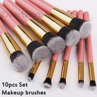 10 PCS Premium Synthetic Kabuki Makeup Brush Set Cosmetics Foundation Blending Blushes Eyeliner Face Powder Brush Makeup Kit