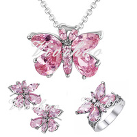 Classy 2014 Popular Fantastic Trendy Party Wearing Rhinestone Vivid Butterfly Silver Women Jewelry Sets 7 Styles FreeShipping