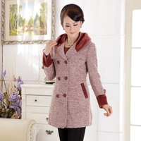 Free shipping,middle-aged mother dress ladies fashion cotton hooded jacket wool coat warm jacket